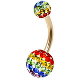 Belly Bar - Steel with Smooth Rainbow Glitzy Balls - SKU 32719
