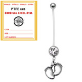 Sterile Pregnancy Belly Bars Baby Feet (PTFE) - SKU 32735