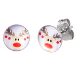 Steel Ear Stud Logo Earrings - Christmas Xmas - SKU 33078