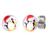 Steel Ear Stud Logo Earrings - Christmas Xmas - SKU 33079