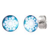 Steel Ear Stud Logo Earrings - Christmas Xmas - SKU 33080