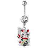 Belly Bar - Steel Lucky Cat - SKU 33090