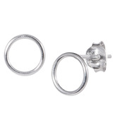 Sterling Silver Simple Circle Silver Ear Stud Earrings ES22 - SKU 33202