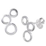 Sterling Silver 3 Circles Ear Stud Earrings ES28 - SKU 33214