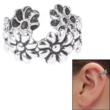 925 Sterling Silver Clip On Ear Cuff - Daisy Chain Flowers - SKU 33217