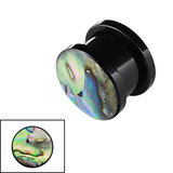 Acrylic Screw Flesh Tunnel with Abalone Shell - SKU 33633