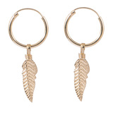 Sterling Silver Hoops - Earrings with Drop Feather H145 - SKU 33698