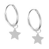 Sterling Silver Hoops - Drop Earrings - Cross, Heart, Star - SKU 33701