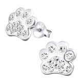 Sterling Silver Cute Jewelled Paw Print Ear Stud Earrings - SKU 33707