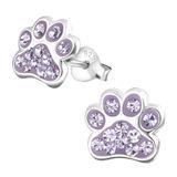 Sterling Silver Cute Jewelled Paw Print Ear Stud Earrings - SKU 33708
