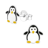 Sterling Silver Penguin Ear Stud Earrings - SKU 33745