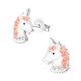 Sterling Silver Sparkly Unicorn Ear Stud Earrings - SKU 33763