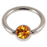 Steel Jewelled BCR 1.0mm Amber / 10