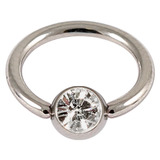 Steel Jewelled BCR 1.0mm Crystal Clear / 10