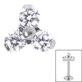 Titanium Claw Set CZ Jewelled Trinity for Internal Thread shafts in 1.2mm (0.9mm) - SKU 34030