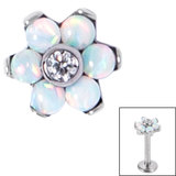 Titanium Claw Set CZ Jewelled and 6 Point Synth Opal Flower for Internal Thread shafts in 1.2mm (0.9mm) - SKU 34048