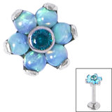 Titanium Claw Set CZ Jewelled and 6 Point Synth Opal Flower for Internal Thread shafts in 1.2mm (0.9mm) - SKU 34049