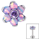 Titanium Claw Set CZ Jewelled and 6 Point Synth Opal Flower for Internal Thread shafts in 1.2mm (0.9mm) - SKU 34050