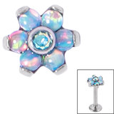 Titanium Claw Set CZ Jewelled and 6 Point Synth Opal Flower for Internal Thread shafts in 1.2mm (0.9mm) - SKU 34051