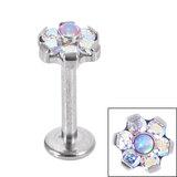 Titanium Internally Threaded Labrets 1.2mm - Titanium Claw Set Synth Opal and 6 Point CZ Jewelled Flower - SKU 34121