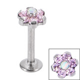 Titanium Internally Threaded Labrets 1.2mm - Titanium Claw Set Synth Opal and 6 Point CZ Jewelled Flower - SKU 34130