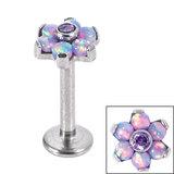 Titanium Internally Threaded Labrets 1.2mm - Titanium Claw Set CZ Jewelled and 6 Point Synth Opal Flower - SKU 34139