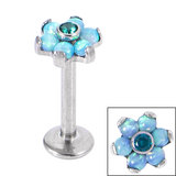 Titanium Internally Threaded Labrets 1.2mm - Titanium Claw Set CZ Jewelled and 6 Point Synth Opal Flower - SKU 34142