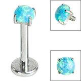 Titanium Internally Threaded Labrets 1.2mm - Titanium Claw Set Round Synth Opal - SKU 34168