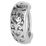 Steel Huggie Belly Clicker Ring - Filigree Heart - SKU 34218