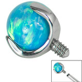 Titanium Claw Set Opal Ball for Internal Thread shafts in 1.6mm (1.2mm). Also fits Dermal Anchor - SKU 34222