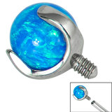 Titanium Claw Set Opal Ball for Internal Thread shafts in 1.6mm (1.2mm). Also fits Dermal Anchor - SKU 34224
