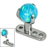 Titanium Dermal Anchor with Titanium Claw Set Opal Ball - SKU 34268