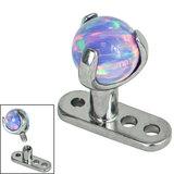 Titanium Dermal Anchor with Titanium Claw Set Opal Ball - SKU 34269