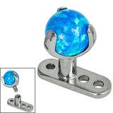 Titanium Dermal Anchor with Titanium Claw Set Opal Ball - SKU 34270
