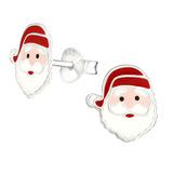Sterling Silver Santa Ear Stud Earrings - SKU 34292