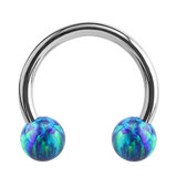 Steel Circular Barbell (CBB) (Horseshoes) with Synthetic Opal Balls 1.2mm - SKU 34424