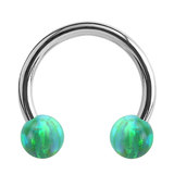 Steel Circular Barbell (CBB) (Horseshoes) with Synthetic Opal Balls 1.2mm - SKU 34435