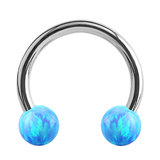 Steel Circular Barbell (CBB) (Horseshoes) with Synthetic Opal Balls 1.2mm - SKU 34436