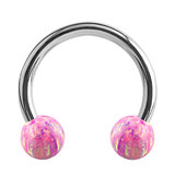 Steel Circular Barbell (CBB) (Horseshoes) with Synthetic Opal Balls 1.2mm - SKU 34447