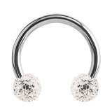 Steel Circular Barbell (CBB) (Horseshoes) with Glitzy Balls 1.2mm - SKU 34458