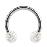Steel Circular Barbell (CBB) (Horseshoes) with Glitzy Balls 1.2mm - SKU 34465