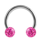 Steel Circular Barbell (CBB) (Horseshoes) with Glitzy Balls 1.2mm - SKU 34467