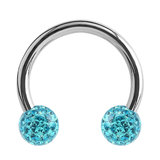 Steel Circular Barbell (CBB) (Horseshoes) with Glitzy Balls 1.2mm - SKU 34480