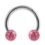 Steel Circular Barbell (CBB) (Horseshoes) with Glitzy Balls 1.2mm - SKU 34485