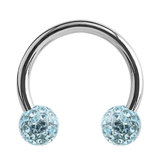 Steel Circular Barbell (CBB) (Horseshoes) with Glitzy Balls 1.2mm - SKU 34492