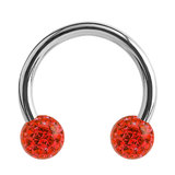 Steel Circular Barbell (CBB) (Horseshoes) with Glitzy Balls 1.2mm - SKU 34494