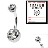 Sterile Titanium Internal Thread Double Jewelled Belly Bar - SKU 34682