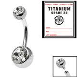 Sterile Titanium Internal Thread Double Jewelled Belly Bar - SKU 34683