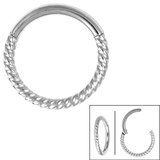 Steel Twisted Rope Hinged Clicker Ring - SKU 34864