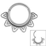 Steel Sunburst Hinged Clicker Ring - SKU 34865
